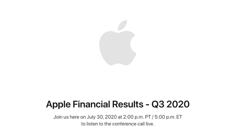 Apple Will Announce Its Q3 2020 Earnings on July 30