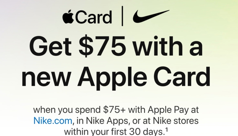 New Apple Card Users Can Get $75 Cash Back When Spending $75 or More on Nike Products