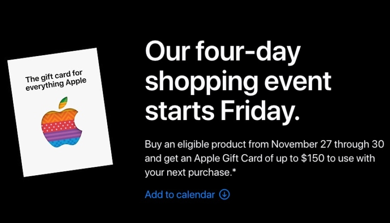 Apple Announces Black Friday & Cyber Monday Promo: Up to $150 Apple Gift Card With Select Purchases