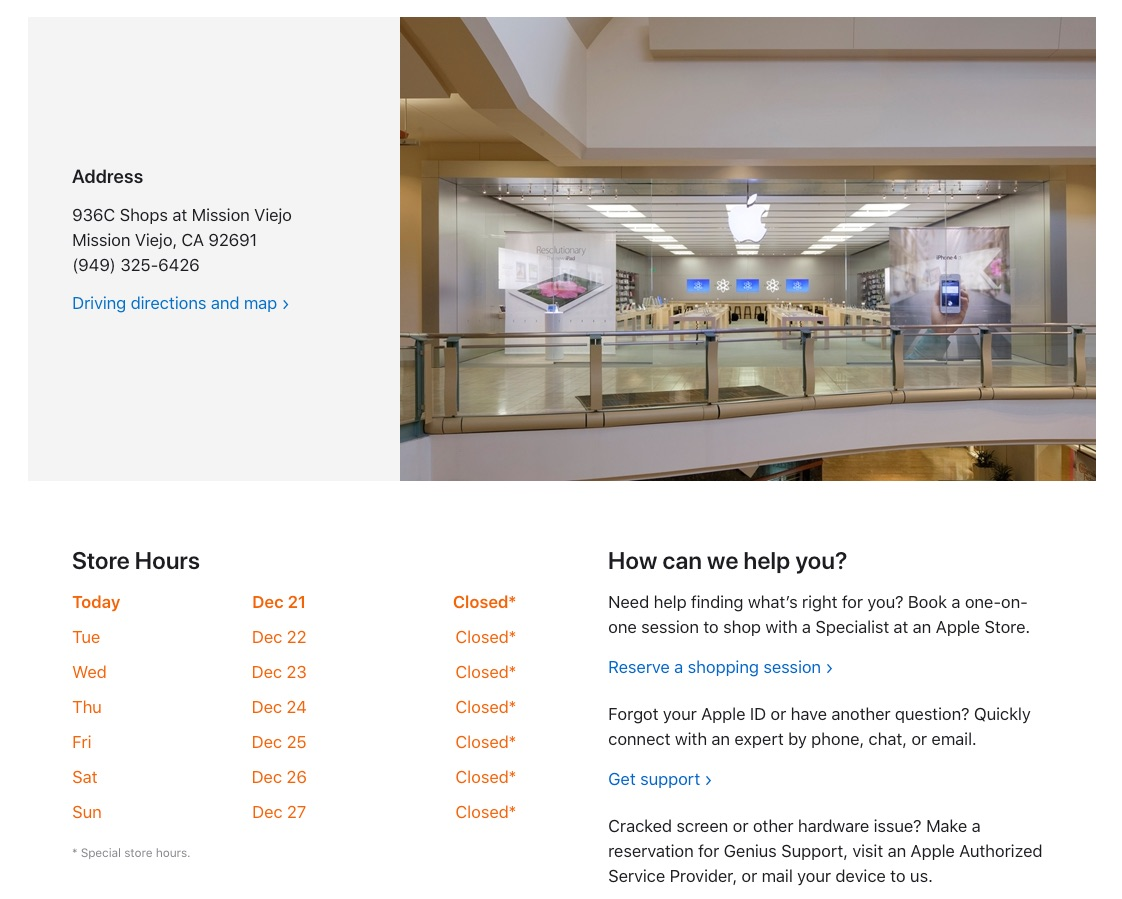 Mission Viejo - Apple Store - Closed