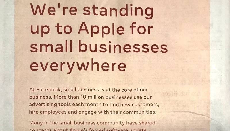 Full-Page Newspaper Ad by Facebook Attacks Apple's iOS 14's Privacy Improvements